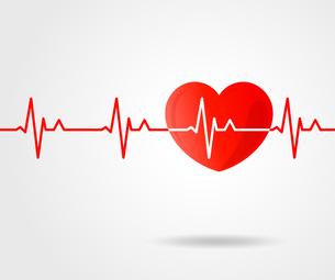 心電図のリズムとハートのイラストのイラスト素材 [FYI03826679]