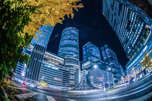 名古屋駅前の夜景の写真素材 [FYI03827091]