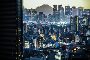 文京シビックセンターからの夕景(新宿方面)の写真素材 [FYI03827103]