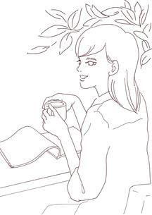 コーヒーを飲む女性(線画)のイラスト素材 [FYI03827130]