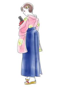 袴姿の女の子のイラスト素材 [FYI03827131]