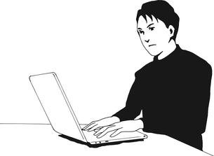 パソコンを使う男性のイラスト素材 [FYI03827256]