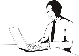 パソコンを使う男性のイラスト素材 [FYI03827260]
