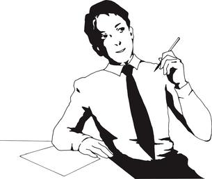 ペンを持つ男性のイラスト素材 [FYI03827265]