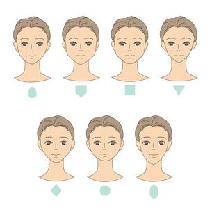 男性の顔の形-タイプ別のイラスト素材 [FYI03827558]