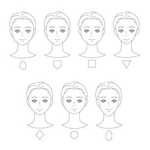 男性の顔の形-タイプ別のイラスト素材 [FYI03827559]