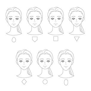 女性の顔の形-タイプ別のイラスト素材 [FYI03827560]
