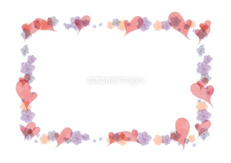 ハートと花のフレームのイラスト素材 [FYI03827633]