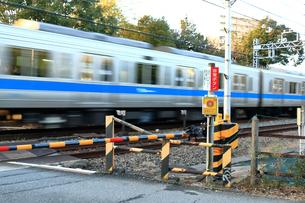 踏切を通過する電車の写真素材 [FYI03828634]
