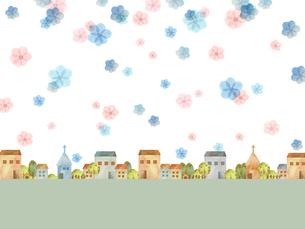 町並みとお花のイラスト素材 [FYI03828690]