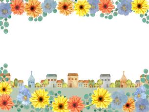 街並みとお花のイラスト素材 [FYI03828691]