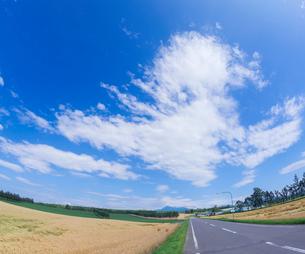 北海道 自然 風景 田園風景を走る一本道と青空 の写真素材 [FYI03829442]