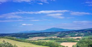 北海道 自然 風景 パノラマ 田園風景と青空 の写真素材 [FYI03829453]