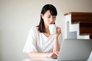 ノートパソコンで作業をしている女性の写真素材 [FYI03829508]