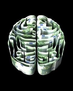 ユーロ紙幣で出来た脳のイラスト素材 [FYI03829676]