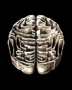一万円紙幣で出来た脳のイラスト素材 [FYI03829677]