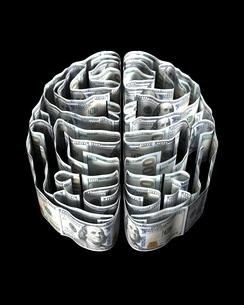 ドル紙幣で出来た脳のイラスト素材 [FYI03829678]