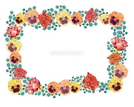 薔薇とパンジーのフレームのイラスト素材 [FYI03829694]