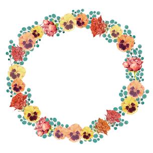 薔薇とパンジーのフレームのイラスト素材 [FYI03829695]