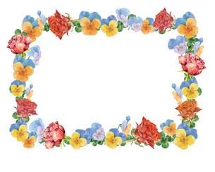 薔薇とパンジーのフレームのイラスト素材 [FYI03830121]