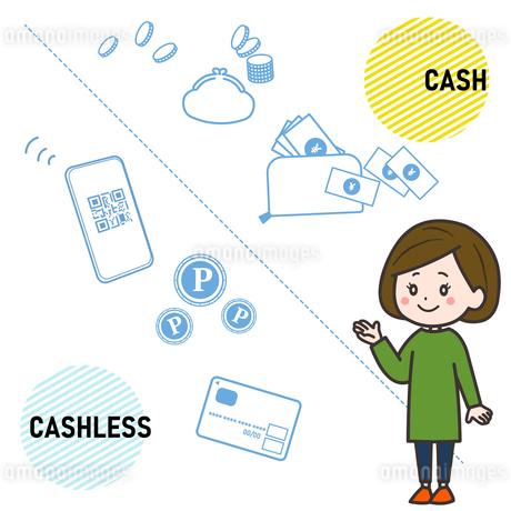 現金とキャッシュレス 示す女性 イラストのイラスト素材 [FYI03830149]