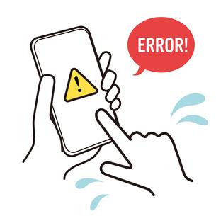 エラー表示の出たスマートフォン 焦り イラストのイラスト素材 [FYI03830152]