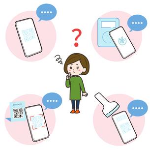 スマートフォン 様々な場面 無反応に困る女性 イラストのイラスト素材 [FYI03830176]