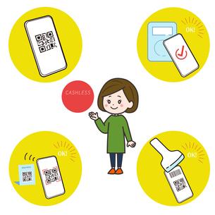 スマートフォン キャッシュレス決済 紹介する女性 イラストのイラスト素材 [FYI03830178]