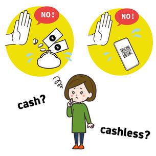 現金かキャッシュレス決済か迷う女性 イラストのイラスト素材 [FYI03830179]
