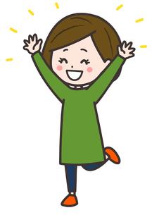 大喜びする女性 ポーズ イラストのイラスト素材 [FYI03830222]