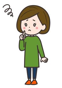 悩む女性 ポーズ イラストのイラスト素材 [FYI03830223]