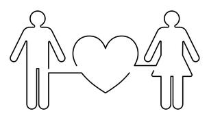 ハートと男女のアイコンのイラスト素材 [FYI03830670]