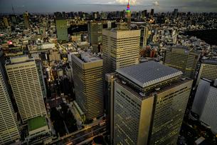 東京都庁の展望台から見える新宿の都市風景と夕景の写真素材 [FYI03830824]