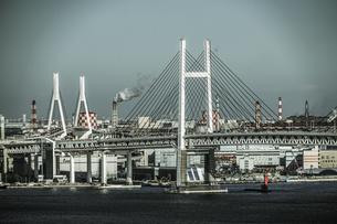 マリンタワーから見える横浜の街並み(モノクローム)の写真素材 [FYI03830827]