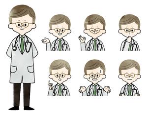 医者-男性-表情セット-水彩のイラスト素材 [FYI03831090]