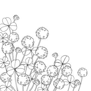 シロツメクサ線画のイラスト素材 [FYI03831092]
