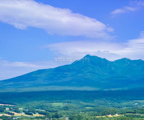 北海道 自然 風景 田園風景と斜里岳遠望の写真素材 [FYI03831149]