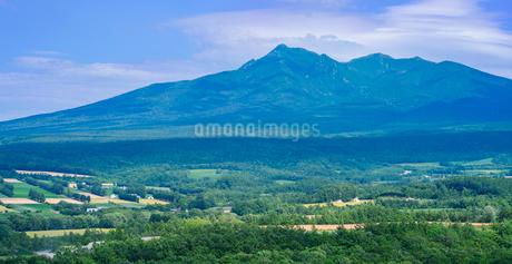 北海道 自然 風景 パノラマ 田園風景と斜里岳遠望の写真素材 [FYI03831151]