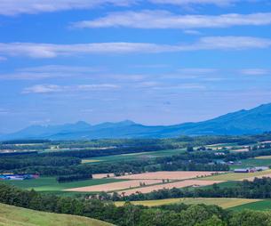 北海道 自然 風景 田園風景と知床連山遠望の写真素材 [FYI03831153]
