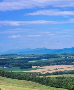 北海道 自然 風景 田園風景と知床連山遠望の写真素材 [FYI03831154]