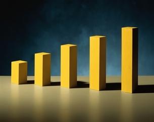 整列した長方形の立体5個(黄色)の写真素材 [FYI03831710]
