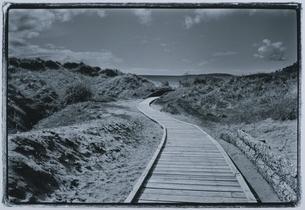 海への道 BWの写真素材 [FYI03831786]
