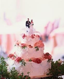 カップルの人形の載ったウエディングケーキの写真素材 [FYI03831926]