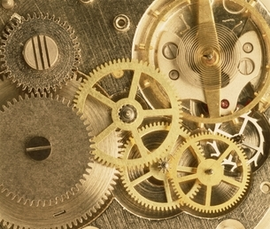 金色のいろいろな歯車の写真素材 [FYI03831994]