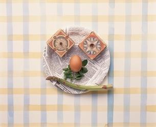 お皿の上に野菜・果物で顔イメージの写真素材 [FYI03832087]