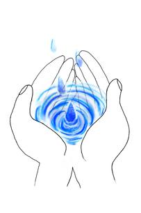 手のひらに落ちる水滴のイラスト素材 [FYI03833299]