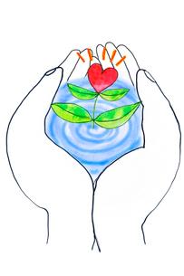 手のひらで咲くハートのイラスト素材 [FYI03833304]
