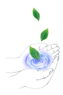 手のひらの水と葉っぱのイラスト素材 [FYI03833306]
