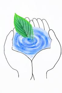 手のひらの水と葉っぱのイラスト素材 [FYI03833308]
