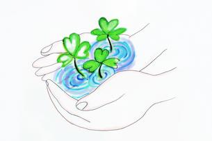 手のひらの水と葉っぱのイラスト素材 [FYI03833309]